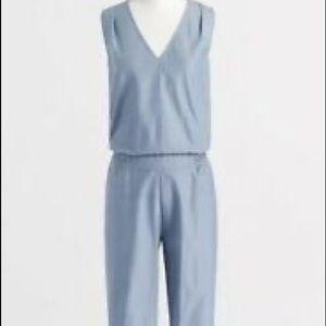 J Crew blue Drapey V Neck jumpsuits sleeveless